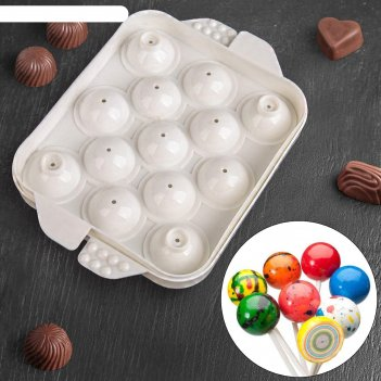Форма для льда и шоколада 13 ячеек сфера 16х12х3,5 см, белая