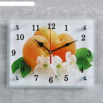 Часы настенные, серия: кухня, абрикосы с цветами, 20х25  см, микс