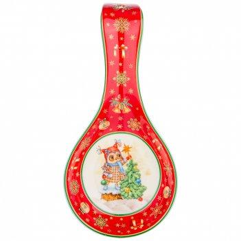 Подставка под ложку lefard новогодняя сказка совы 22 см красная (кор=24шт.