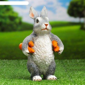 Садовая фигура зайка несет морковь  9х13х22см