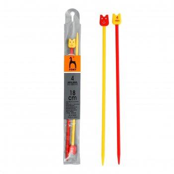 Спицы для вязания прямые, детские, d=4мм, 18 см, цветные, 2шт