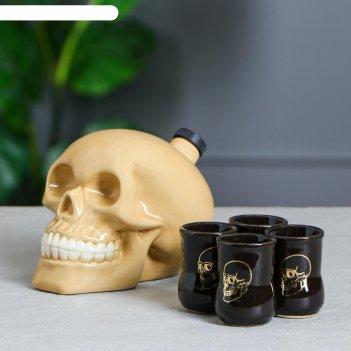 Набор для коньяка череп, натуральный, объём 0,8 л/0,05 л