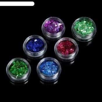 Декор для ногтей камифубуки лазерные квадрат/круг разноцвет (набор 6шт)
