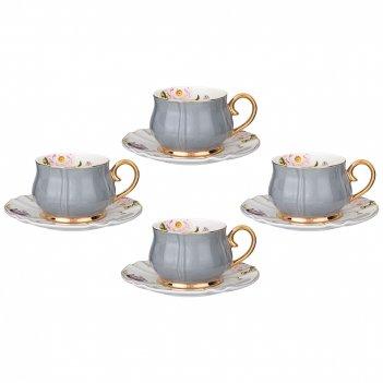 Чайный набор на 4 персоны 8 пр. lefard времена года 200 мл серый