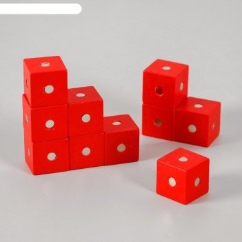 Магнитный констрктор кубики 10 шт размер кубика 2х2х2 см цвет микс