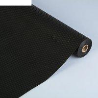 Фетр однотонный, рельефный волны, черный, 50 см х 10 м