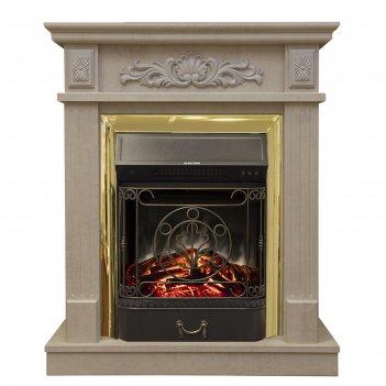 Электрокамин adelaida std/eug wt с электроочагом majestic lux brass,1500 в