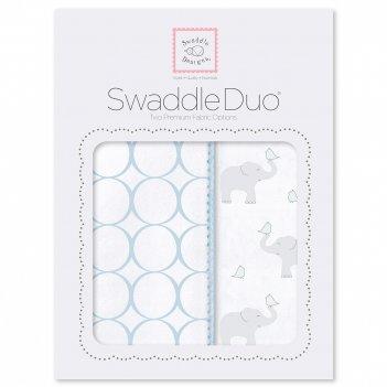 Набор пеленок swaddledesigns swaddle duo pb elephant & chickies mod du