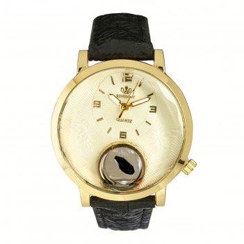 Часы наручные женские сердечко, циферблат d=3 см, черные