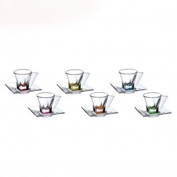 Набор чайных пар цветные rcr fusion 12 предметов (70мл)