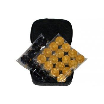 Rtu-29.3 комплект фишек для игры в нарды эбен/самшит в кожаном чехле.
