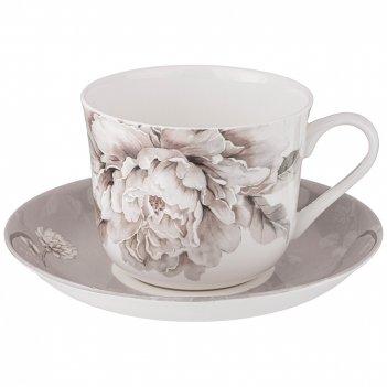 Чайная пара lefard white flower 2 пр. 500 мл серая (кор=24наб.)