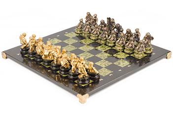 Шахматы спортивные бронза змеевик 400х400 мм