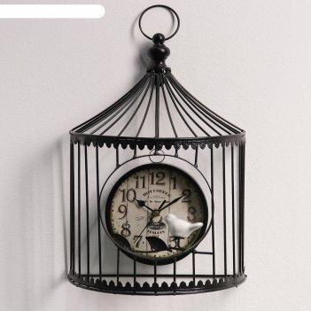 Часы настенные, серия: животный мир, птичка в клетке, чёрные, 12х24х38 см
