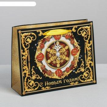 Пакет подарочный ламинированный горизонтальный «новогодние часы», ms 23 x