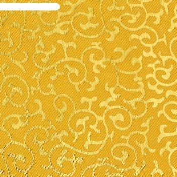 Ткань атлас бежевый с золотыми завитками