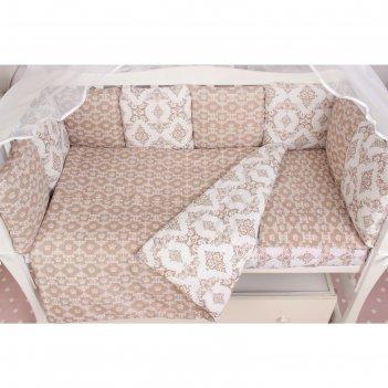 Комплект в кроватку premium «короны», 19 предметов, бязь, коричневый