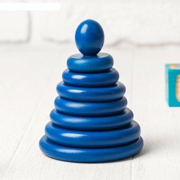 Пирамидка синяя, 8 деталей