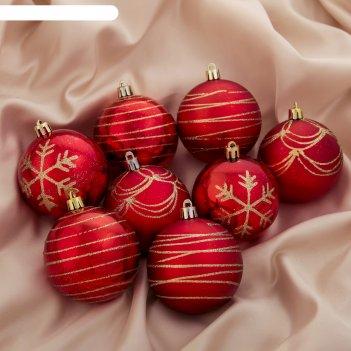 Новогодние шары золотой рисунок красные (набор 24 шт.)