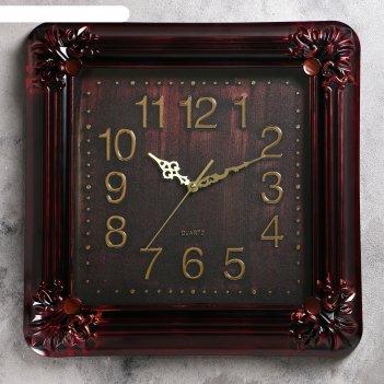 Часы настенные, серия: классика, джур, темные, 42х42 см