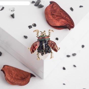 Значок жучок, цвет красно-черный в золоте