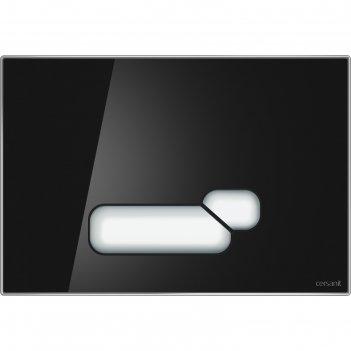 Кнопка cersanit actis, универсальная, стекло, черный глянцевый