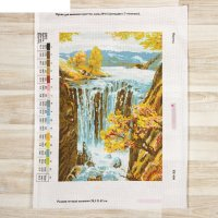 Канва схема для вышивки крестом водопад