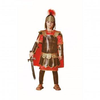 Римский воин, бархат и парча, рубаха,кольчуга-плащ, защита 4, шлем, меч, р