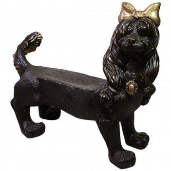 Скамейка собака с бантом под бронзу