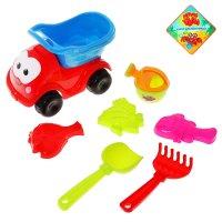 Песочный набор машинка 7 предметов: машинка, лейка, 3 формочки, грабли, ло
