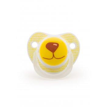 Соска-пустышка силикон капля, 12-24 жёлтый (мишка)