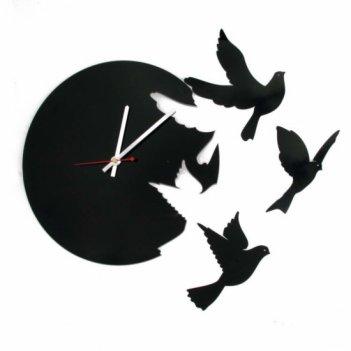 Часы настенные летящие птицы черные cl191кр 37х40см