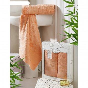 Комплект махровых полотенец pandora: 50х90 см-1 шт, 70х140 см-1 шт, коралл