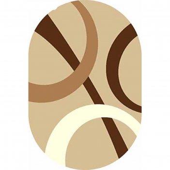 Ковёр фризе пп sunrise v810, 2*5,5 м, овал, beige