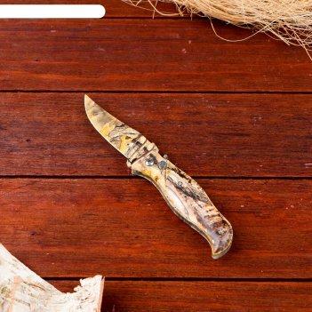 Нож перочинный лезвие clip-point 7,5см, рукоять птица хаки (фиксатор, кноп