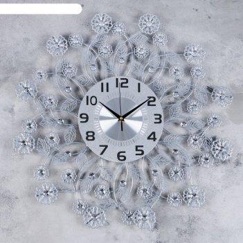 Часы настенные, серия: ажур, листья и цветочки, хромированные, d=59 см