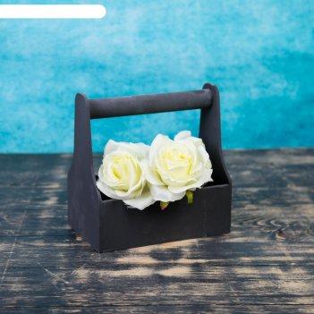 Кашпо флористическое, чёрное, с ручкой, 20х20х12,5см