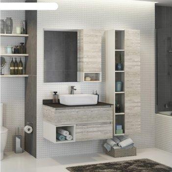 Зеркало-шкаф comforty «прага-90» дуб белый