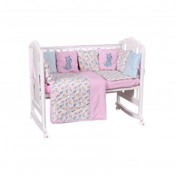 Комплект в кроватку «собачки», 5 предметов, цвет розовый