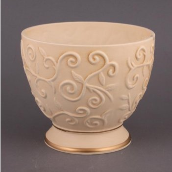 Чаша декоративная арт деко персик с золотой каймой диаметр=22,5 см.высота=