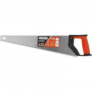 Ножовка по дереву (пила) mirax 1502-47_z01, 450 мм, 5 tpi, рез вдоль и поп