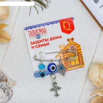 Булавка-оберег домашний очаг, 5см, цвет бело-синий в серебре
