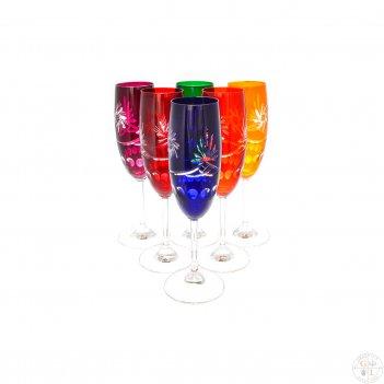 Набор фужеров для шампанского цветной хрусталь (6 шт)
