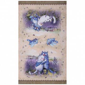 Полотенце синие коты. лаванда,40х70см, 100% хлопок,твил, беж