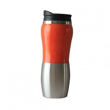 Термокружка stinger, 0,4 л, сталь/пластик, серебристый/оранжевый, глянцевы