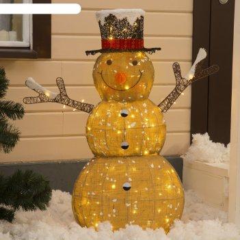 Фигура метал.снеговик большойлён,200 led,115x45x160 см,220v,тепл.белый