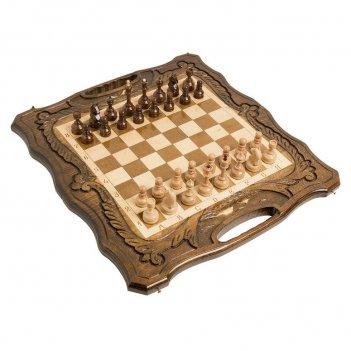 Шахматы + нарды резные с араратом 50 с ручкой, haleyan 50х50см