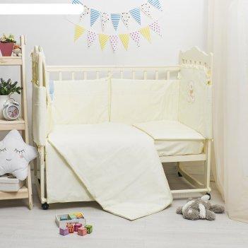 Комплект в кроватку элит 7 предметов, вышивка/кружево, велюр/сатин, цв лим