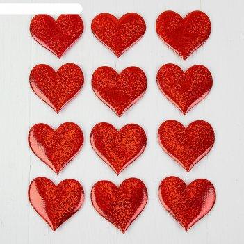 Сердечки декоративные, набор 12  шт, размер 1 шт 6,5*6  см, цвет красный