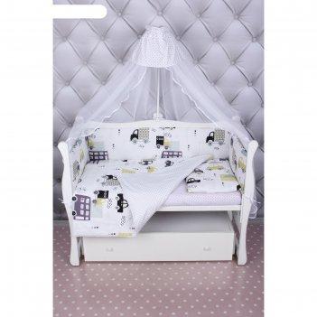 Комплект в кроватку, 7 предметов, бязь, цвет белый, принт город
